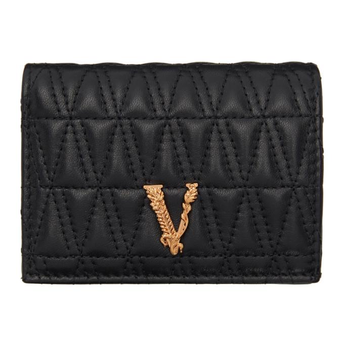 Versace Black Quilted Vitrus Wallet In Dnmov Black