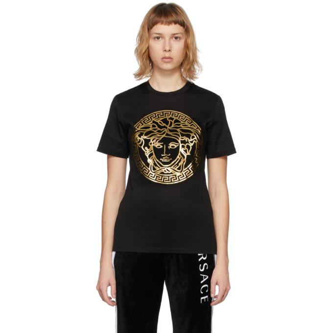 Versace SSENSE 独家发售黑色 Metallic Medusa T 恤