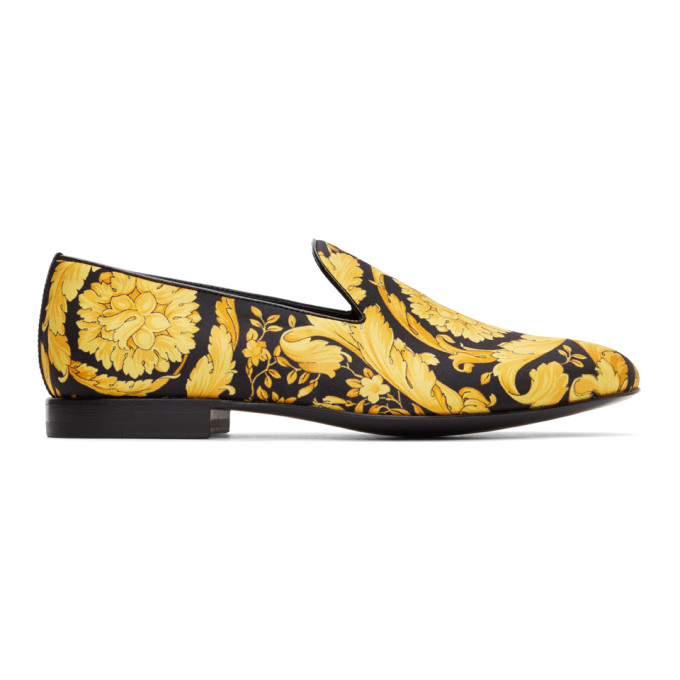 Versace Barocco Loafer In Black And Gold Color In D4191 Black