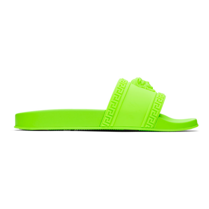 Versace Green Palazzo Pool Slides In Df4 Fluo