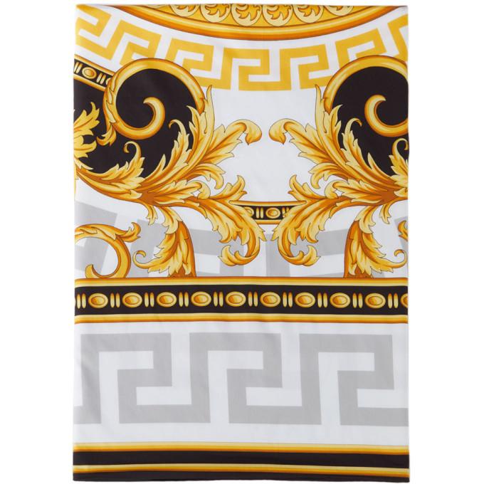 Versace White 'la Coupe Des Dieux' Duvet Cover, King In Grey