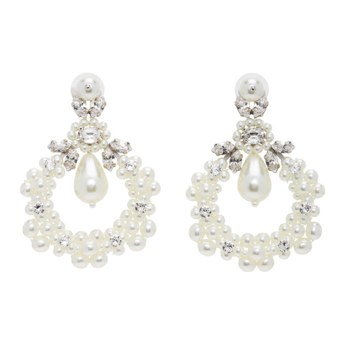 Simone Rocha Earrings SIMONE ROCHA WHITE JEWELLED CLUSTER CAMEO EARRINGS