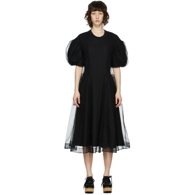 Simone Rocha SIMONE ROCHA BLACK TULLE OVERLAY SCULPTED DRESS