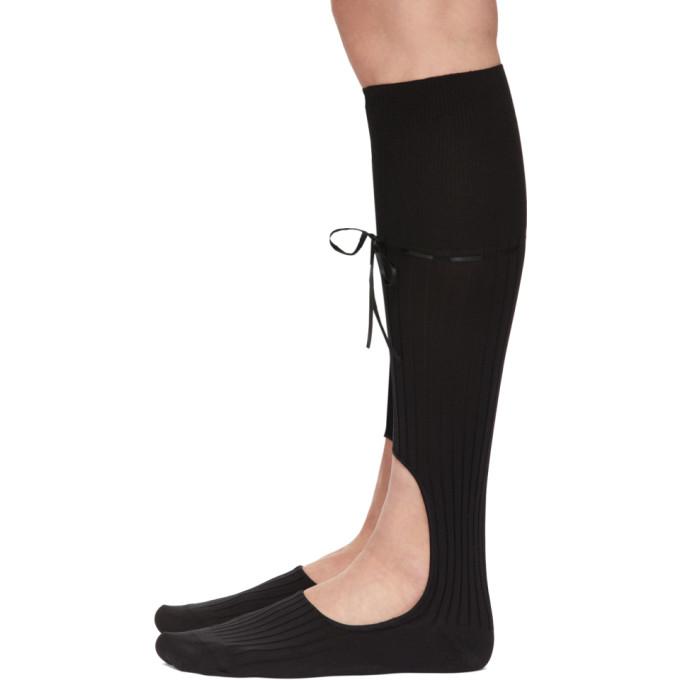 SIMONE ROCHA Socks SIMONE ROCHA BLACK KNEE-HIGH RIBBON CUT-OUT SOCKS
