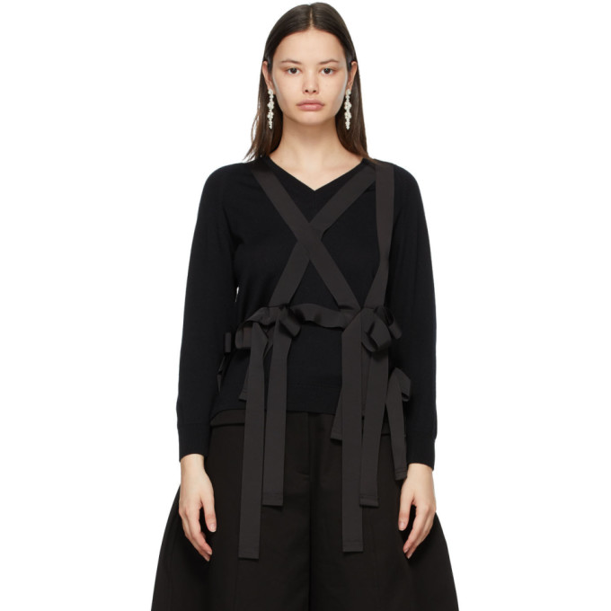 Simone Rocha Wools SIMONE ROCHA BLACK WOOL GROSGRAIN HARNESS SWEATER