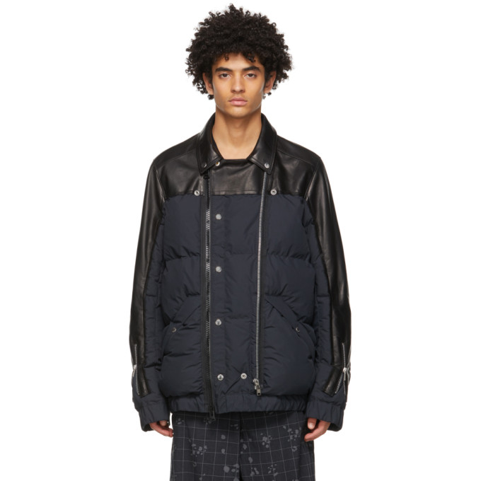Undercover Sacai Printed Leather-panelled Quilted Shell Jacket In Black