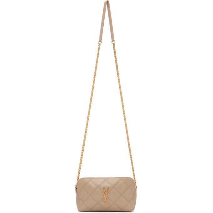 Saint Laurent Leathers SAINT LAURENT BEIGE QUILTED BECKY DOUBLE ZIP BAG