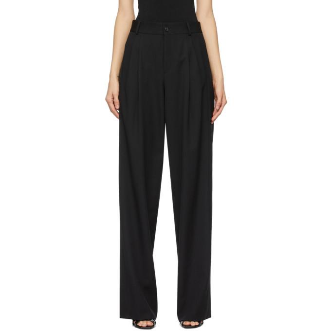 Saint Laurent Pleated Grain De Poudre Wool Wide-leg Pants In Black