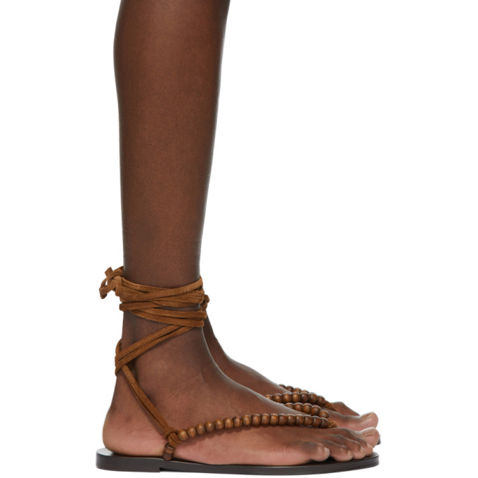 Saint Laurent Brown Beaded Wraparound Gia Flat Sandals In 2330 Brown