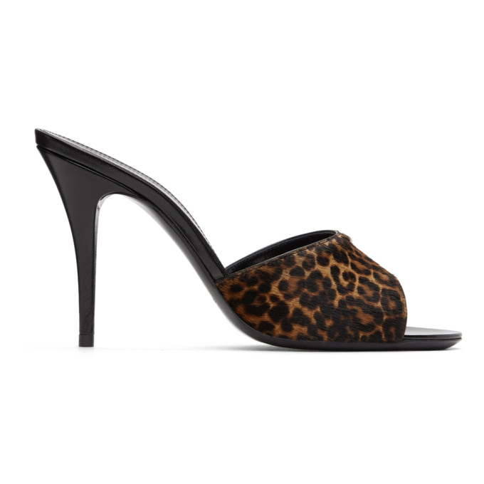 Saint Laurent SAINT LAURENT BLACK AND BROWN LEOPARD LA 16 MULES