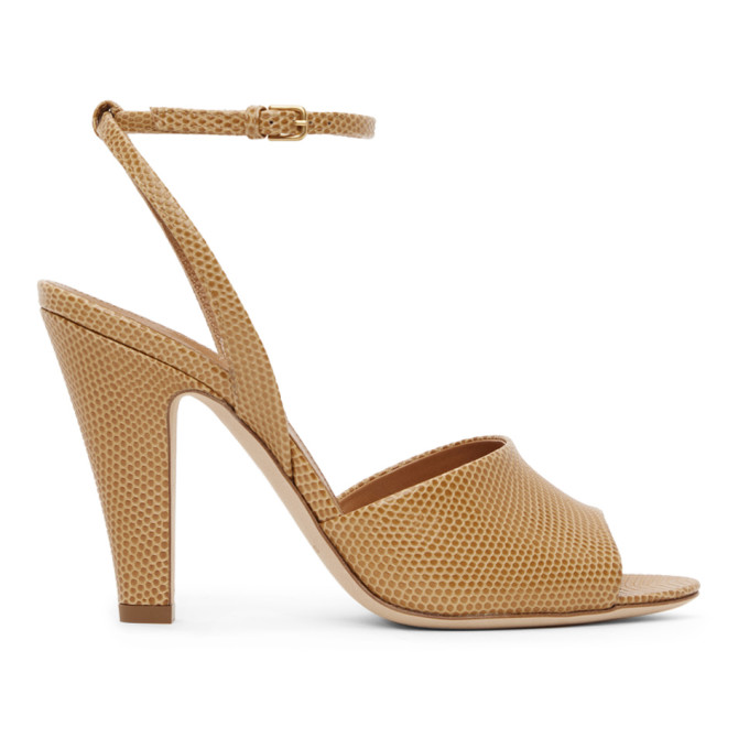 Saint Laurent Tan Lizard Scandale Heeled Sandals In 2716 Mou