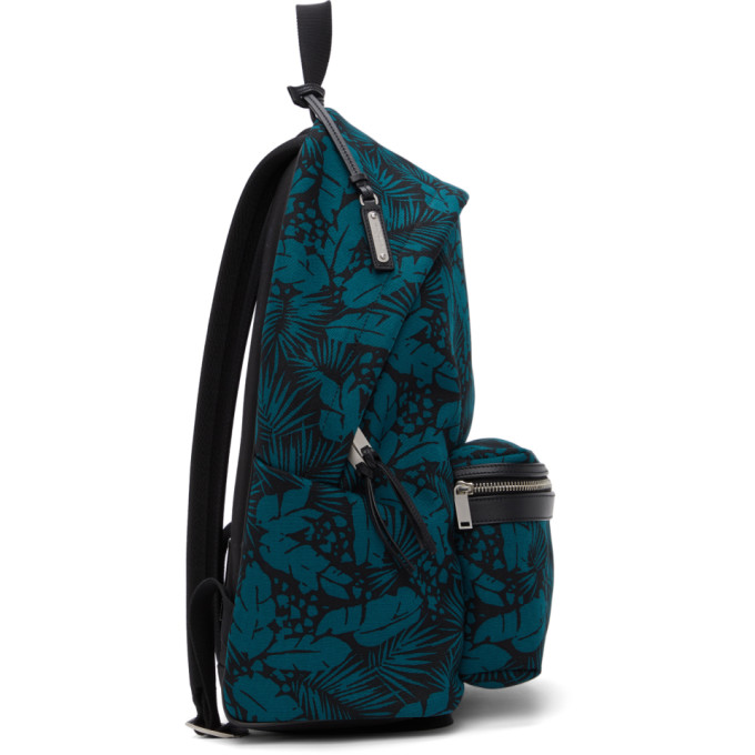 SAINT LAURENT Canvases SAINT LAURENT BLACK AND BLUE TROPICAL PRINT CITY BACKPACK