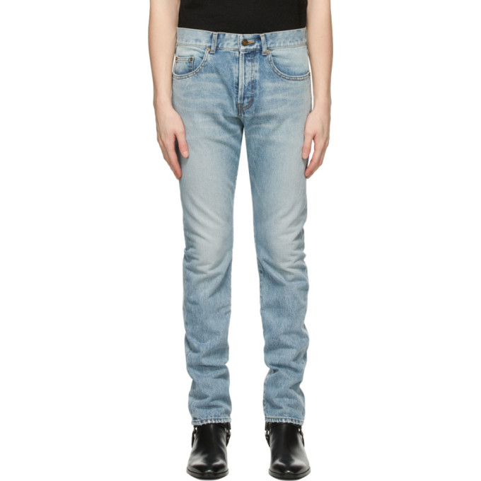 Saint Laurent 17cm Logo Slim Fit Cotton Denim Jeans In 4681 Hwblue