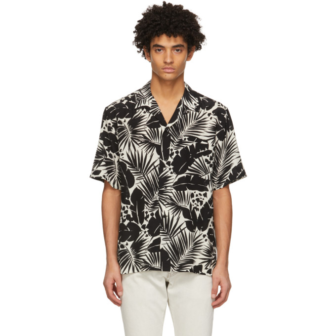Saint Laurent SAINT LAURENT BLACK AND WHITE SILK TROPICAL SHARK-COLLAR SHORT SLEEVE SHIRT