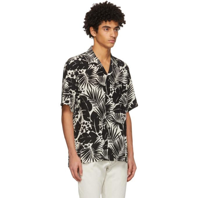 SAINT LAURENT Shirts SAINT LAURENT BLACK AND WHITE SILK TROPICAL SHARK-COLLAR SHORT SLEEVE SHIRT