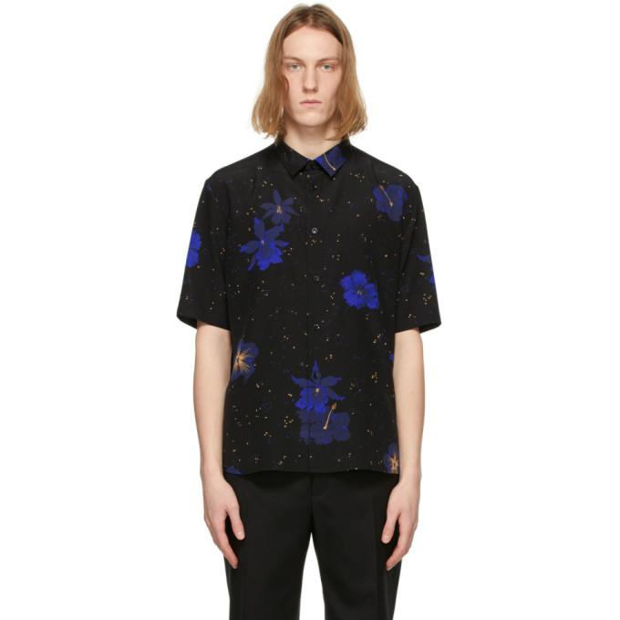 Saint Laurent Confetti Hibiscus Short Sleeve Silk Button-up Shirt In 1093 Blkblu
