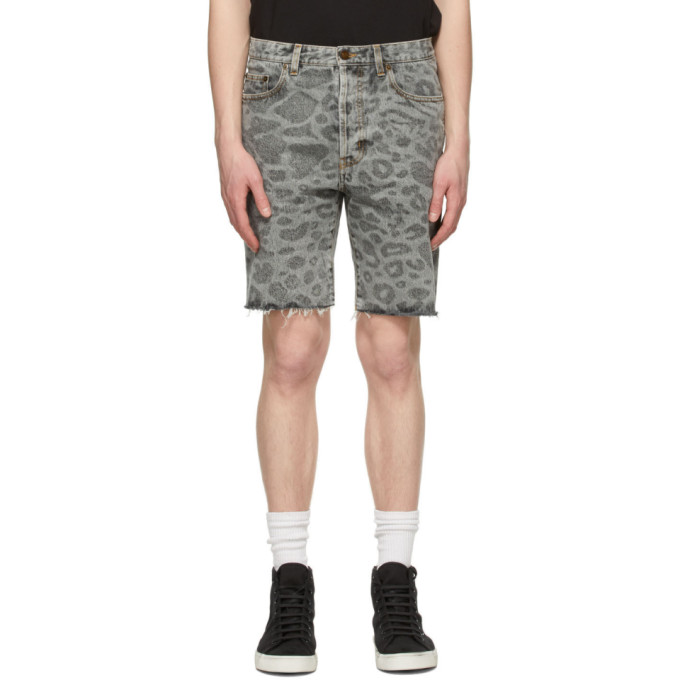 Saint Laurent Jeans SAINT LAURENT GREY LEOPARD RAW EDGE SHORTS