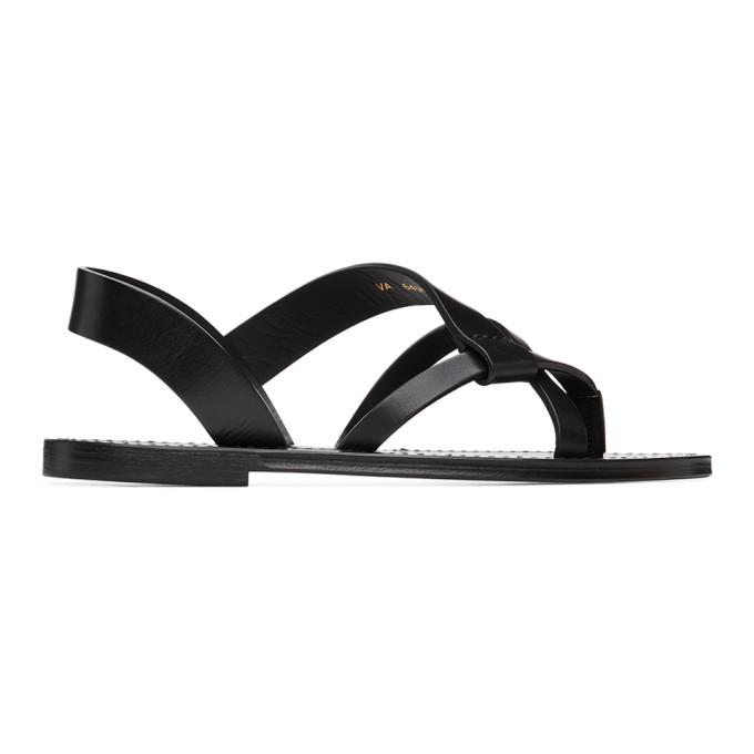 Saint Laurent Matt Flat Leather Sandals In 1000 Black