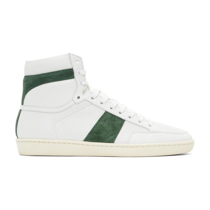 Saint Laurent White & Green Court Classic Sl/10h Sneakers In 9337 Whtgrn