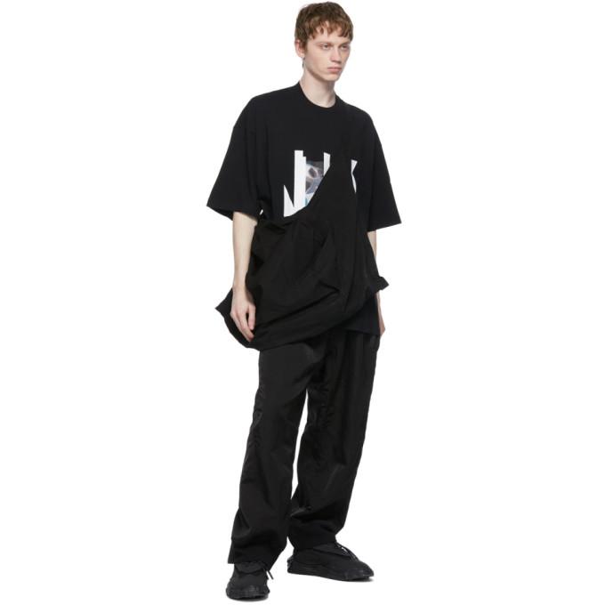 JULIUS T-shirts JULIUS BLACK NILOS JERSEY LOGO PRINT T-SHIRT