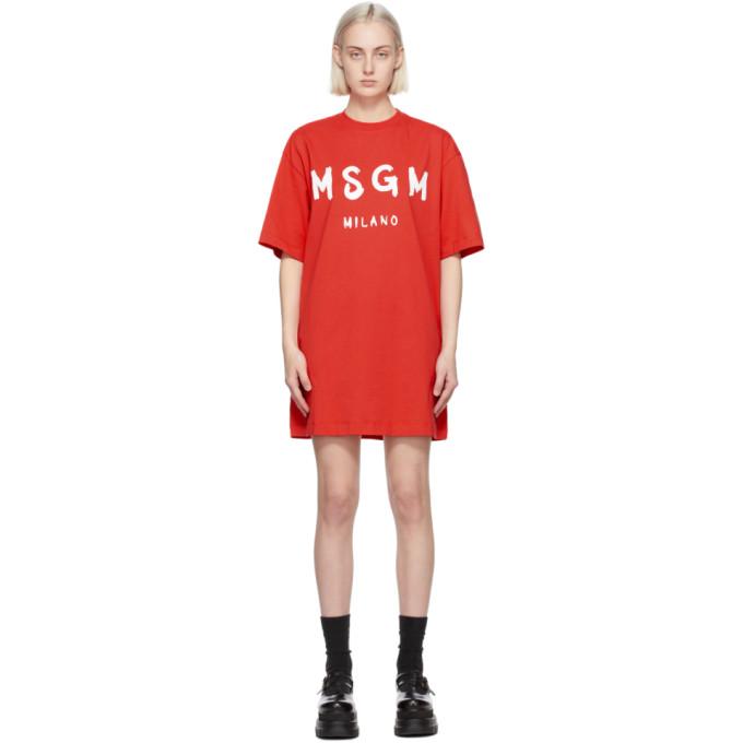 MSGM レッド Artist ロゴ T シャツ ドレス