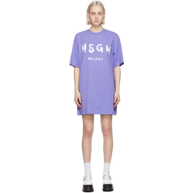 MSGM パープル Artist ロゴ T シャツ ドレス