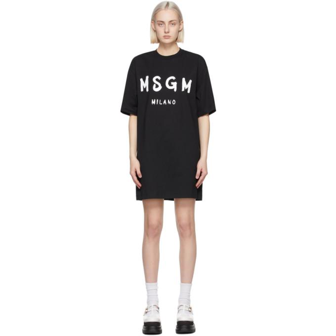 MSGM ブラック Artist ロゴ T シャツ ドレス