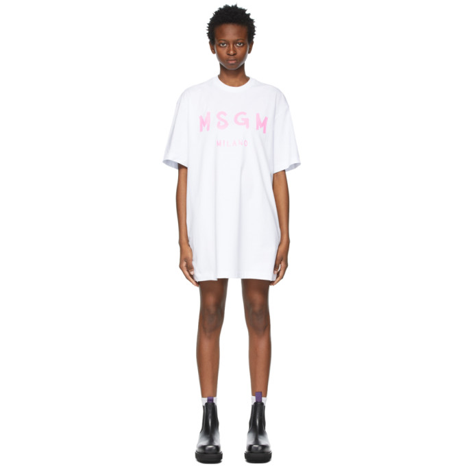 Msgm MSGM WHITE AND PINK BRUSHED LOGO DRESS