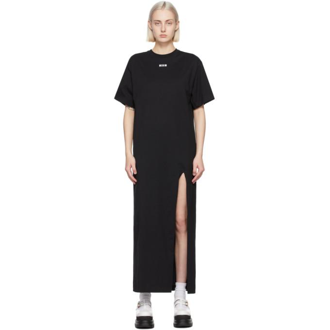 MSGM SSENSE 限定 ブラック Micro ロゴ T シャツ ドレス