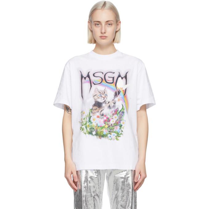 MSGM ホワイト Cat ロゴ T シャツ