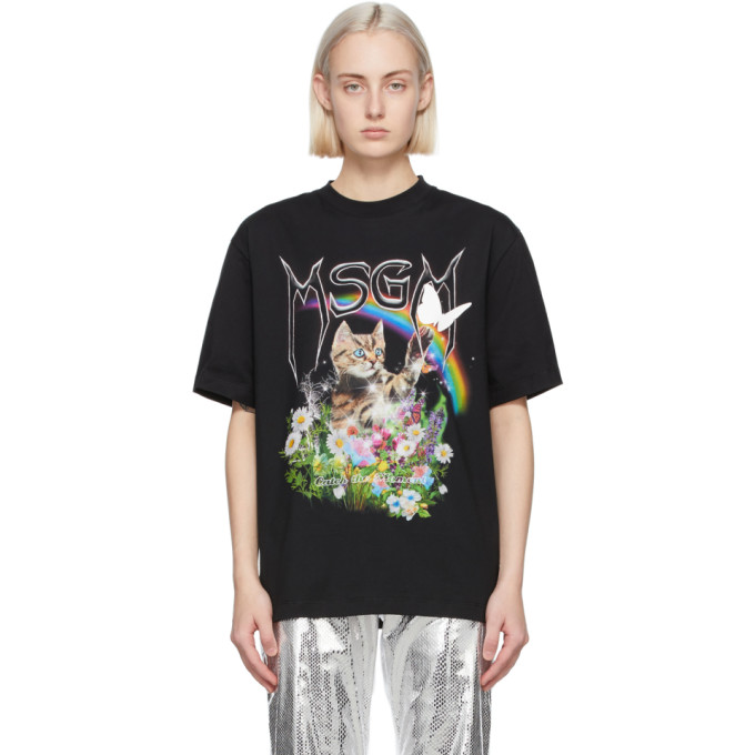 MSGM ブラック Cat ロゴ T シャツ