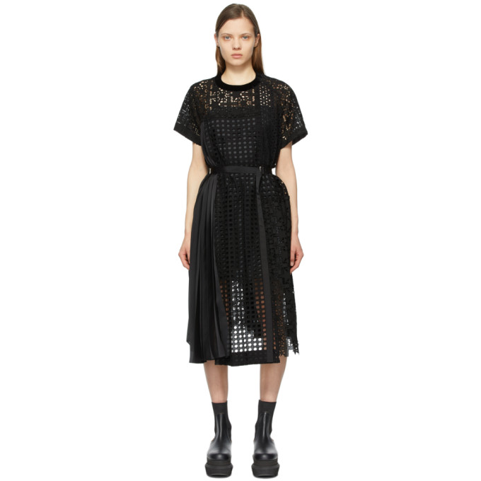Sacai SACAI BLACK STAR EMBROIDERED T-SHIRT DRESS