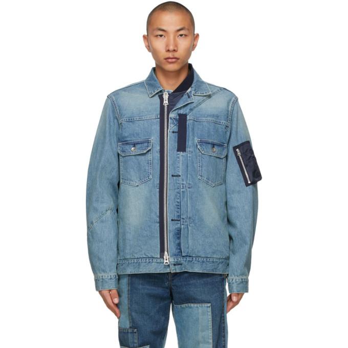 Sacai Blue Denim Oxford & Knit Jacket In Lt Blue 451