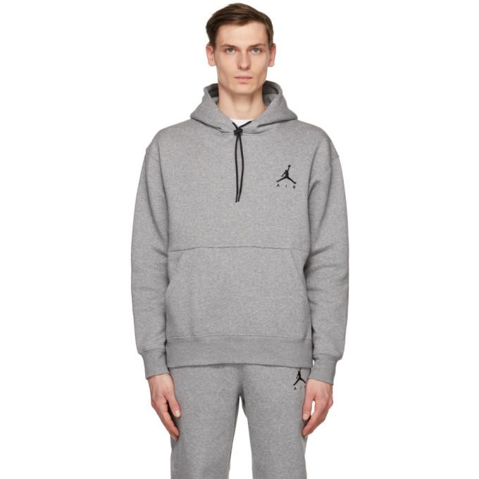 Nike Jordan Jumpman Air Fleece Hoodie In Carbon/blk