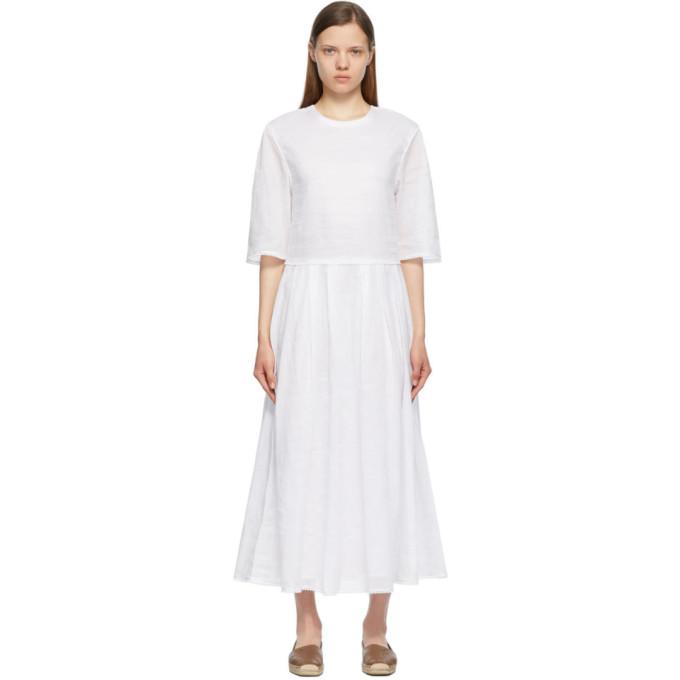 Max Mara S MAX MARA WHITE RAMIE VARENNA DRESS