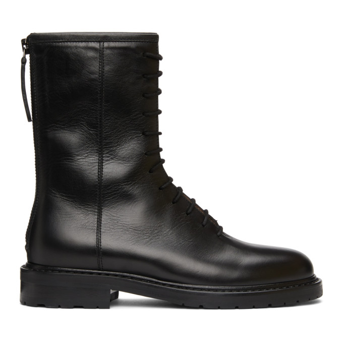 Legres Black Leather Combat Boots
