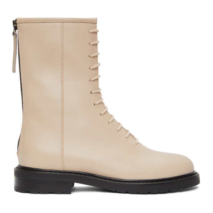 Legres Beige Leather Combat Boots