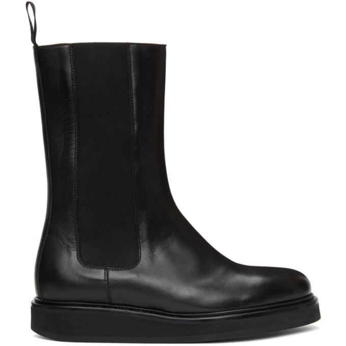 Legres Black Leather Mid-Calf Chelsea Boots