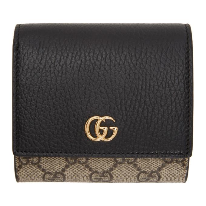 Gucci 驼色 and 黑色小号 GG Supreme Marmont 翻盖钱包