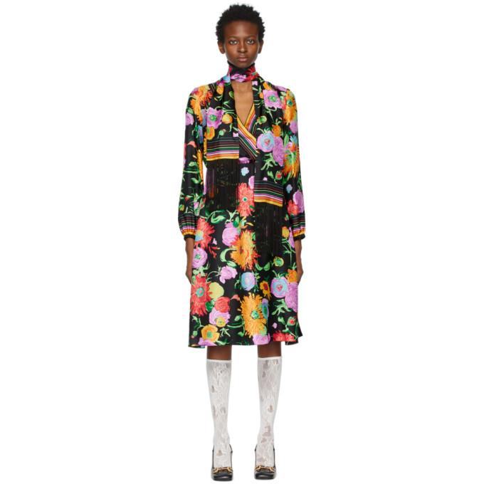 Gucci Midi dresses GUCCI BLACK KEN SCOTT EDITION SILK PRINT DRESS