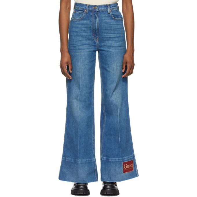 Gucci Logo-patch High-rise Flared-leg Jeans In Dark Blue Denim