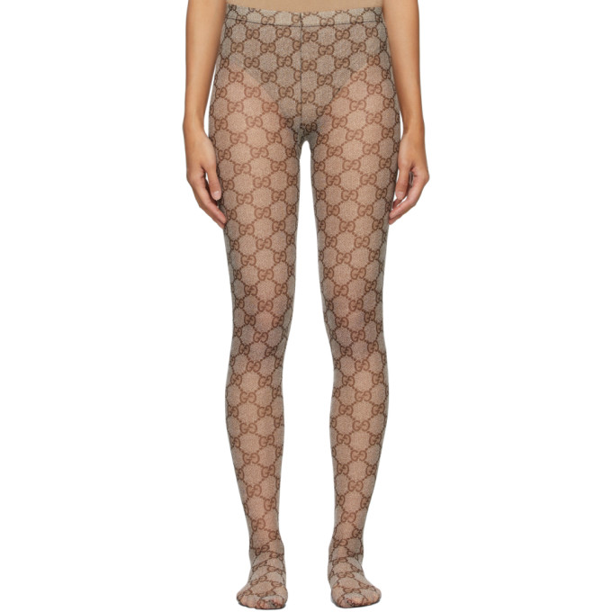 Gucci GUCCI BEIGE GG TIGHTS