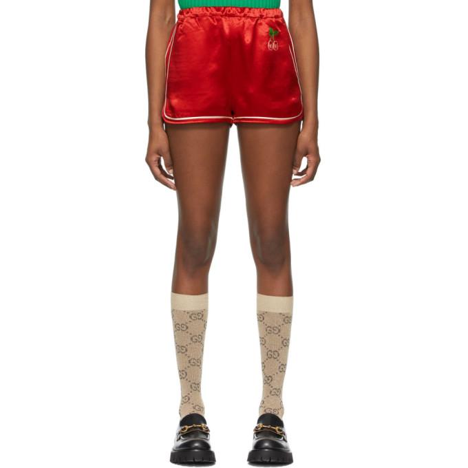 Gucci GUCCI RED SATIN GG CHERRY SHORTS