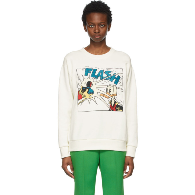 Gucci White Disney Edition Donald Duck 'flash' Sweatshirt
