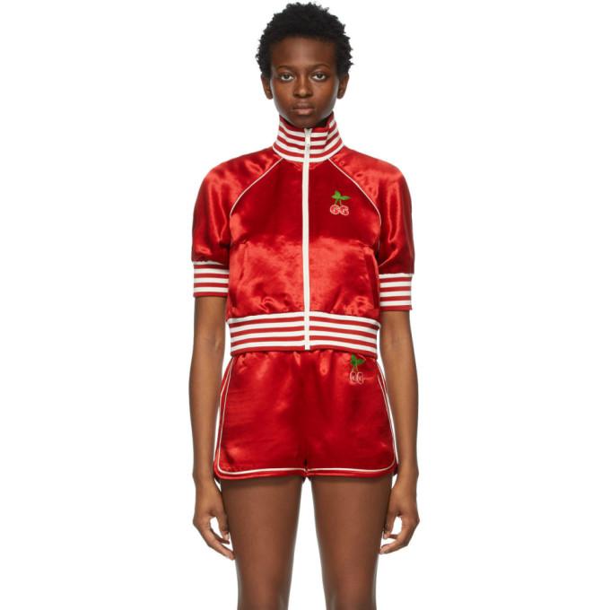 Gucci GUCCI RED SATIN GG CHERRY JACKET