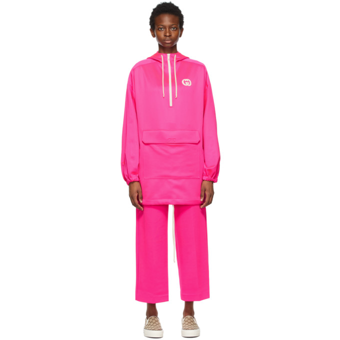 Gucci Oversized Appliquéd Stretch-scuba Hoodie In Neon Pink