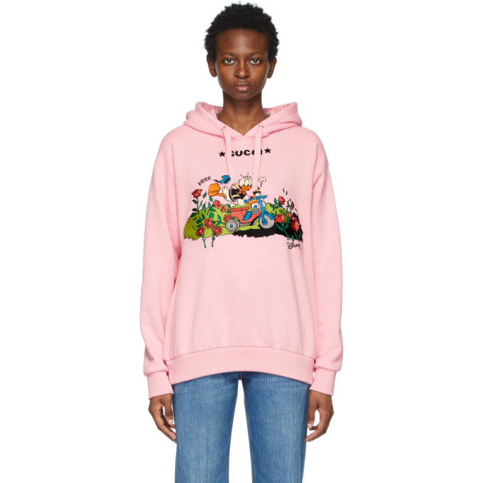 Gucci Pink Disney Edition Garden Donald Duck Hoodie