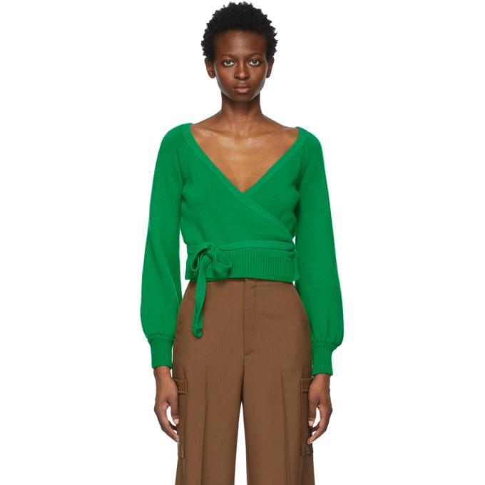 Gucci Wools GUCCI GREEN WOOL TIE V-NECK SWEATER