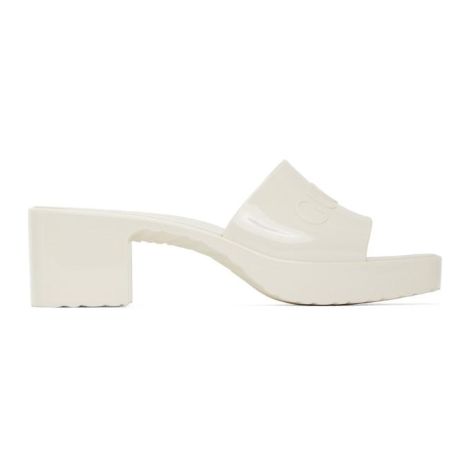 Gucci 灰白色橡胶凉鞋
