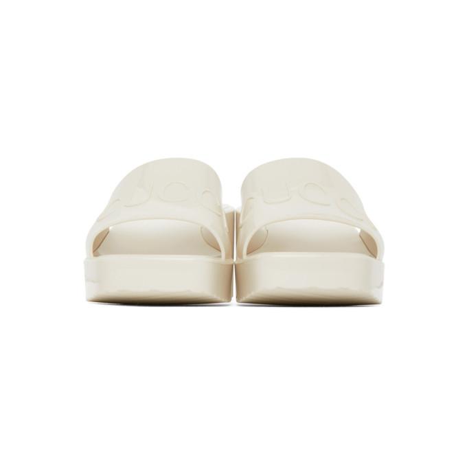 GUCCI Slides GUCCI OFF-WHITE RUBBER SLIDE HEELED SANDALS